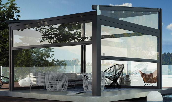 Tenda Vertica Zip - Tenda invernale per pergola in alluminio da giardino - Sintesi Tende Orbassano
